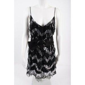 Zara Womens Mini Dress M Black Silver Sequined